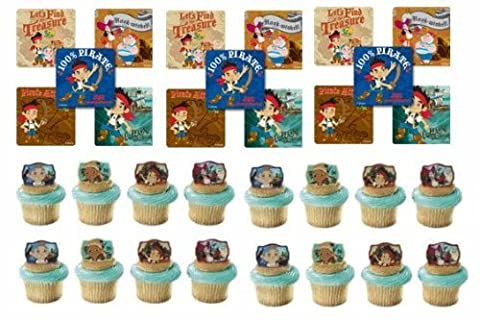 24 Jake & the Neverland Pirates Cupcake Decoration Rings with 24 Stickers by Cake Supply Shop