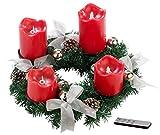 Britesta Tannenkränze: Adventskranz, silbern, 4 rote LED-Kerzen mit bewegter Flamme (Adventkranz)
