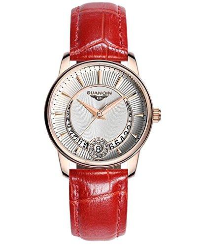 GUANQIN Women 's orologio al quarzo in pelle Date , red - Womens Diamante Orologio Automatico