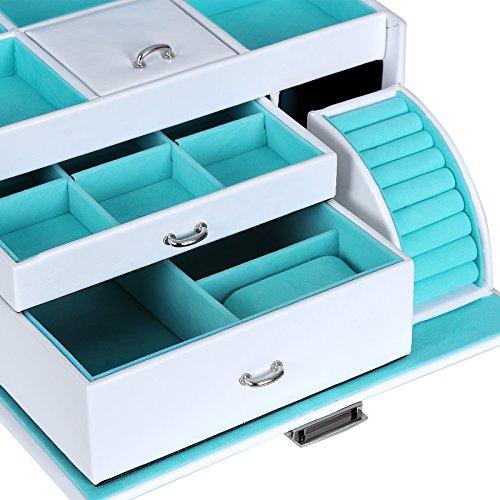 Songmics Schmuckkasten Schmuckkoffer Kosmetikkoffer Schmuckkästchen abschließbar mit spiegel Schublade JBC211W - 4