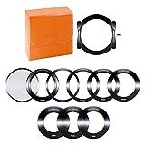 Rollei Profi Filterhaltersystem für 100mm Rechteckfilter - Neutralgraufilter und Grauverlaufsfilter - für Optiken mit 52, 55, 58, 62, 67, 72, 77 und 82 mm Filtergewinden - Aluminium