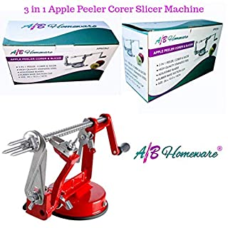 Apple 3 in 1 Fruit Gadget Machine for Peeling Coring Cutting and Slicing with Suction Stand Red by A&B HOMEWARE® - Delivery Fast & Free
