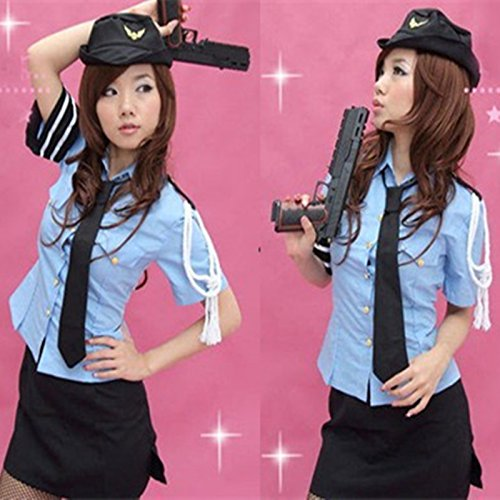 Gorgeous Split Polizistin Uniformversuchung -RollennachtclubStahl ds Stewardess Kostüme Polizistin ()