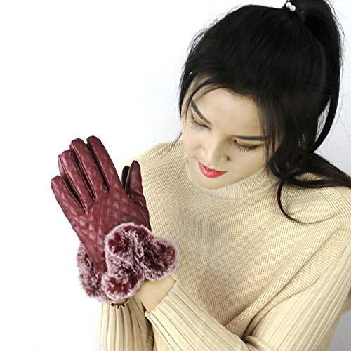 Weiche Handschuhe PU-Leder-Mode Doppel Herbst und Winter Damen Touchscreen Business Reithandschuhe (Farbe: Schwarz) Handschuhe für Mädchen (Farbe : Red)