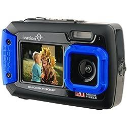 Ivation Appareil Photo numérique sous-Marine Antichoc de 20MP et numérique avec Double écran LCD A Tout Couleur. Entièrement Imperméable et étanche jusqu'à 30,50m (10ft) Bleu