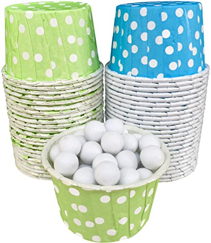 Outside the Box Papers Polka Dot Candy Nut Cups Lime Green, Blue, White by Outside the Box Papers (Lime Liner Green Cupcake)