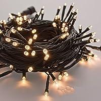takestop® 300 LED LUCI Bianco Caldo Filo Verde Albero di Natale Catena Luminosa Controller 8 FUNZIONI MINILUCCIOLE LAMPADINE LUCCIOLE