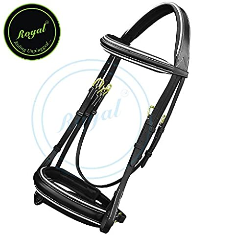 Royal Full Padded Raised Broad Bridle with Detachable Flash & PP Rubber Grip Reins./ Vegetable Tanned Leather./ Brass