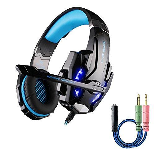 Cuffie Gaming per PS4, multifun G9000 Cuffie da Gioco con Microfono, Gaming Headset con LED, Cuffie Audio Surround Cancellazione di Rumore per PC