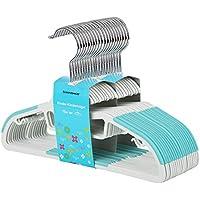 SONGMICS Perchas Infantiles Plástico Set de 20 Abertura en Forma de S Tiras Antideslizantes 30 cm Gancho Giratorio a 360° Azul CRP30Q