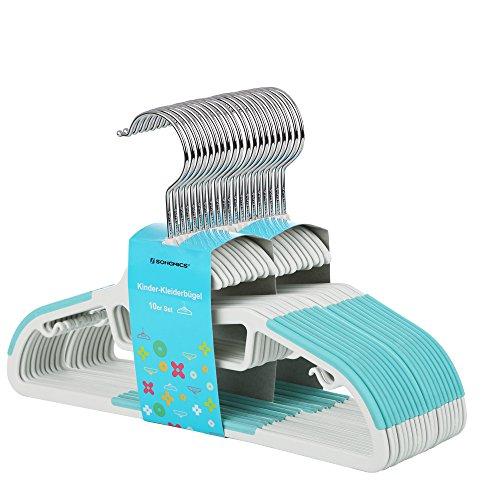 SONGMICS Perchas Infantiles Plástico Set de 20 Abertura en Forma de S Tiras Antideslizantes 30 cm Gancho Giratorio a 360°Azul CRP30Q
