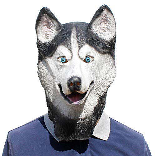 Hunde Samojeden Kostüm - FLTVSN Halloween-Maske Halloween Husky Hund Latex Maske Neuheit Kostüm Party Kostüm Tier Masken Schöne Tier Samojede Hund Kopf Maske