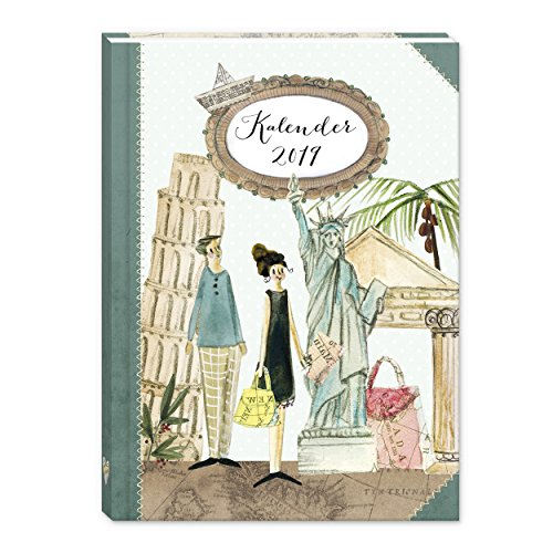 Taschenkalender 2019, Jahreskalender, Jahresplaner, Je Woche zwei Seiten, reiselustiger und praktischer Terminkalender, 136 Seiten, 2 Seiten pro Woche, Klebebindung DIN A6