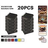 Ace Punch 20 pièces NIOR Wedge Studio Foam Panel Isolation sonore Traitement acoustique Isolation acoustique Carreaux muraux avec onglets de montage libre 25 x 25 x 5 cm AP1134