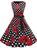 Gardenwed Damen 1950er Vintage Cocktailkleid Rockabilly Retro Schwingen Kleid Faltenrock Black Rose Dot L
