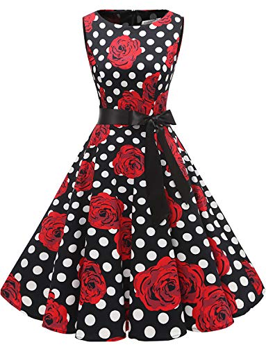 Gardenwed Damen 1950er Vintage Cocktailkleid Rockabilly Retro Schwingen Kleid Faltenrock Black Rose Dot ()