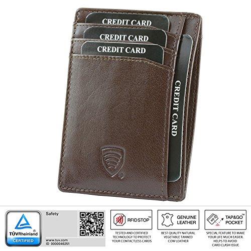 KORUMA® RFID Kartenhalter - schlankes Design - Voll zertifizierten Schutz - 100% Büffelleder - TAP & GO © Funktion - braun Farbe - Geschenkkarton - handgemachte (KUK-63SNBBR)