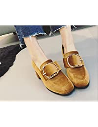 La nueva cabeza cuadrada con una sola zapatos con hebilla de lado informal zapatos de tacón alto , khaki , 7.5