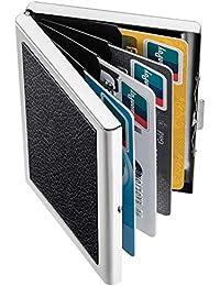 URAQT Kreditkartenetui Kartenetui, RFID Blocking Kreditkartenhülle Edelstahl Kreditkartenetui für Karten Auswurf System, Kohlefaser für Herren und Damen