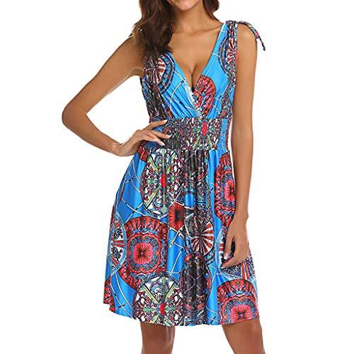 YWLINK Damen ÄRmellos, Tief Geschnittener V-Ausschnitt, RüCkenfrei Retro Kleid Sexy Elegant Strand Party BöHmen Drucken Mini Sonne Kleid(Himmelblau,M)