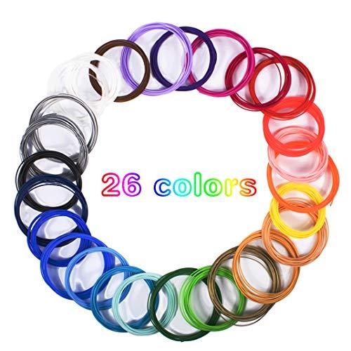 Dioxide Filamento de pluma 3D, 26 Colores Impresora PLA 3D consumibles Diámetro 1,75 mm 5 Metros Cada Rollo 3D Filamento Recargas para impresoras 3D y bolígrafos 3D