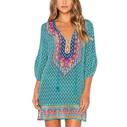 TUDUZ New Arrival Hot Women Summer Vintage Loose 3/4 Sleeves Geometric Pattern Print Dress Casual Sundresses