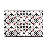 MONTOJ Cool Poker Karten Quadratische Weathertech Bodenmatten für Wohnzimmer, Schlafzimmer, Heimdekoration, Teppich und Fußmatte, Abriebfest, Polyester, 1, 36 x 24 inch