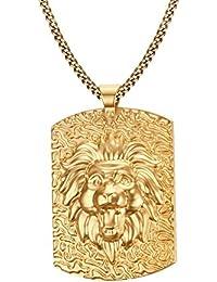 Vnox Männer Edelstahl 18K Gold überzog Hundemarke Löwe Kopf Halsketten Anhänger Punk Rock Schmuck mit kubanischen Kette 60cm