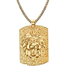 Vnox Acciaio inossidabile placcato oro 18K Dog Tag uomo leone della collana della testa del pendente della roccia punk con Cuba 60 centimetri
