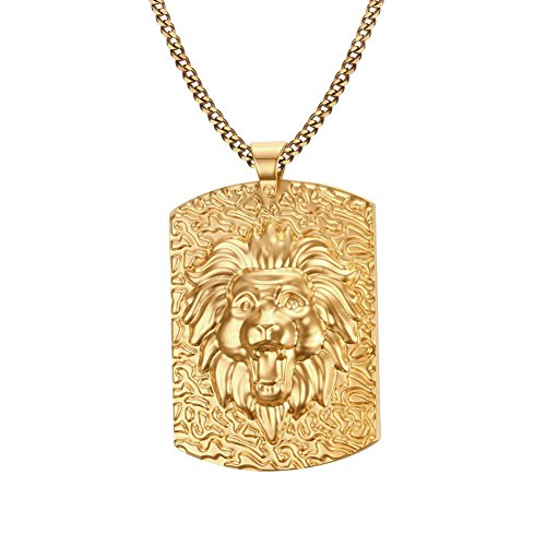 Vnox Männer Edelstahl 18K Gold überzog Hundemarke Löwe Kopf Halsketten Anhänger Punk Rock Schmuck mit kubanischen Kette 60cm (Herren Schmuck Ketten Gold 18)