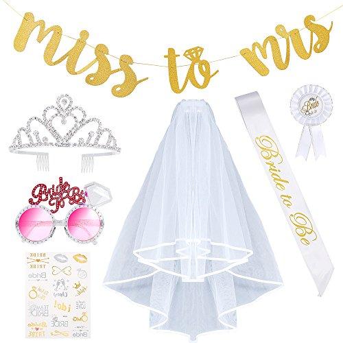 5 Pcs Bride to Be Garter Rosette Badge Tiara Crown Sash Veil Wedding Party Decor