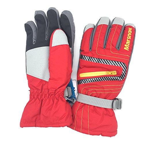Bwiv Radfahren Ski-Handschuhe Im Freien Sport Winterhandschuhe Wasserdicht für Berufs Skifahren, Bergsteigen Rot L