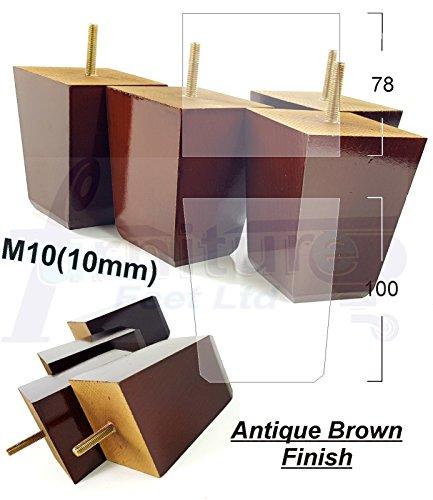 4x Füße Ersatz Möbel Beine aus massivem Holz für Sofas, Stühle, Hocker, Sofa M10(10) pkc358z braun im antik-finish