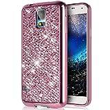 Galaxy S5 Mini Hülle,Galaxy S5 Mini Schutzhülle,ikasus Glänzend Glitzer Bling Diamant Weich Überzug TPU Bumper Handy Hülle Tasche Metallic Chrom Bumper Handyhülle Schutzhülle für Galaxy S5 Mini,Rosa