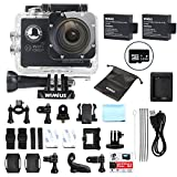 Sports Action Camera 1080p Full HD Waterproof WiFi 2.0'' 12MP 170° wide-angle Camcorder with 2 Batteries and Accessories, Diving Cam Bike Helmet Cam Dash Cam (Q2) (Q2+16gb SD)