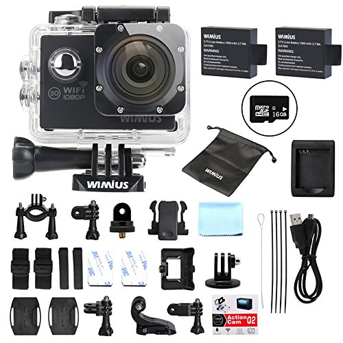 Sports Action Camera 1080p Full HD Waterproof WiFi 2.0' 12MP 170° wide-angle Camcorder with 2 Batteries and Accessories, Diving Cam Bike Helmet Cam Dash Cam (Q2) (Q2+16gb SD)
