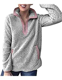VJGOAL Mujer Otoño e Invierno Moda Casual Color sólido Isoft y cómodo mommem Cashmere Stand Collar Zip Up Fluffy Top Sudadera Damas Hooded Pullover Jumper