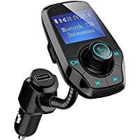 Car Bluetooth FM Transmitter, Patuoxun FM Radio Transmitter In-Car Audio Transmitter, Hands-free Talking Car Kit with 5V-2.1A USB Car Charger and 3.5mm Audio Port