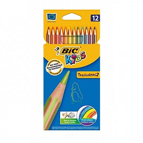 BIC Kids Tropicolors–Caja de 12lápices, colores surtidos. 147020