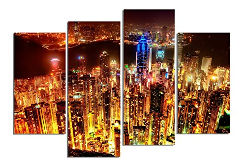 startonight-glass-wall-art-acrylic-decor-set-hong-kong-at-night-and-a-contemporary-clock-set-of-4-to