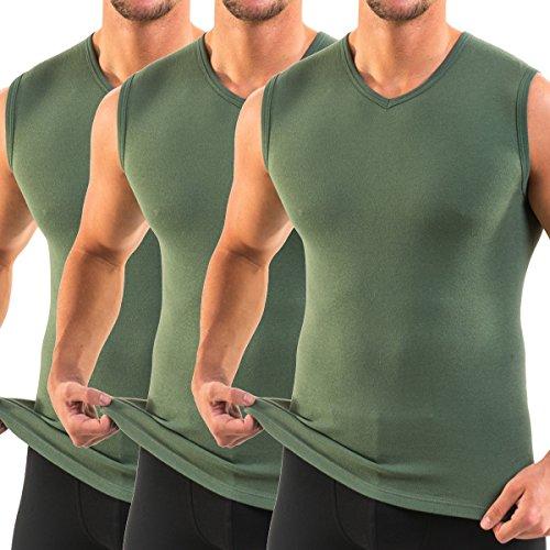 Cotton Muskel-shirt (HERMKO 3050 3er Pack Herren Muskelshirt V-Ausschnitt (Weitere Farben), Größe:D 9 = EU 3XL, Farbe:Olive)
