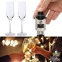 Bar Amigos® Parejas celebración Combo Pack incluye solo tapón para botella de champán y par de copas de cristal sin plomo Everyday Classic Essentials ...