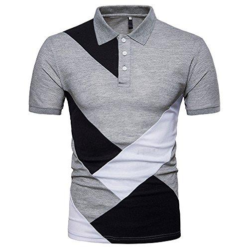 (BURFLY T-Shirt Herren, 2018 Sommer Mode Persönlichkeit Männer Casual Schlank Patchwork Kurzarm T-Shirt Top Bluse (XL, Grau))