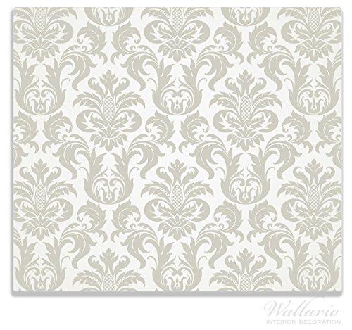 Wallario Herdabdeckplatte / Spitzschutz aus Glas, 1-teilig, 60x52cm, für Ceran- und Induktionsherde, Königliche Schnörkelei in weiß und beige
