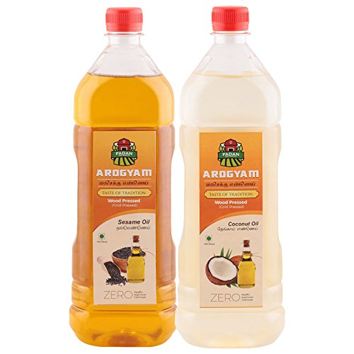 Arogyam wood pressed/cold pressed oil combo pack each 1000ml sesame & coconut oil.