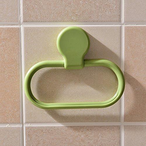 Winbang Rack Gepäckträger Punch-freie Kunststoff Handtuchring Küche Rag Handtuchhalter Wandgarderobe Zubehör Badaccessoires grün -