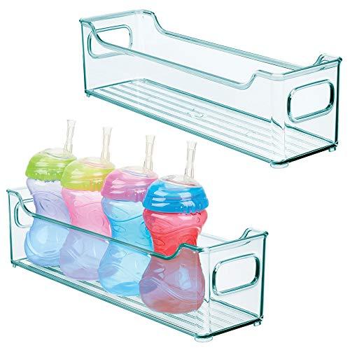 mDesign 2er-Set Kinderzimmer Organizer - große Sortierbox mit praktischen Griffen - BPA-freier Kunststoffbehälter für Spielzeug, Windeln, Stofftiere & Co. - blau (Große Blaue Kunststoff-schnuller)