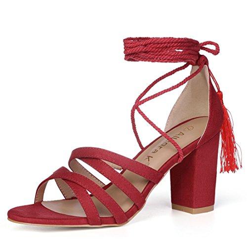 Allegra K Damen Kreuz Gurt Quaste Schnüren Block Ansatz Sandaletten Sandalette Rot 37 EU/6.5 US (Heel Ankle Chunky Wrap)