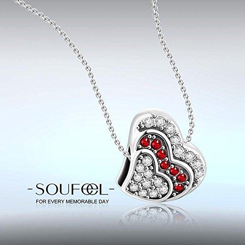 Soufeel Argent 925 Amour Infini Avec Le Cœur Rouge Charm Compatible Européen Bracelets Pour Charms Colliers Bracelet C