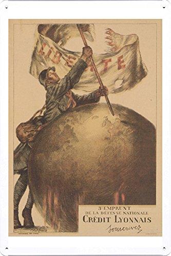 world-war-i-one-tin-sign-metal-poster-reproduction-of-3e-emprunt-de-la-defense-nationale-credit-lyon